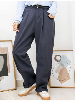 2015-1031-型格・闊褲-前兩袋 X 後腰橡根 X 前腰打摺 , 扯布料直腳褲 (韓國)