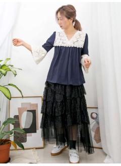 2011-1073 - 宮廷・lace -領位 , 袖口通花刺繡 X 胸位打摺 , V領 X COTTON料TOP (韓國)0