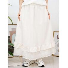 2015-1028- 日系・米色 - 下擺通花刺繡 X RUFFLE邊 , 兩側袋 X 橡根腰 , 麻棉料半截裙 (韓國)0