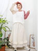 2011-1074B- 拼色・牛角T  胸位小袋仔 X 拼色 , 竹節料TOP (韓國)0