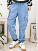 2015-1039 - 設計感・男友褲 -腳位橡根 X 兩側袋 , 腰位橡根束繩 X 泡泡腳牛仔褲 (韓國)0