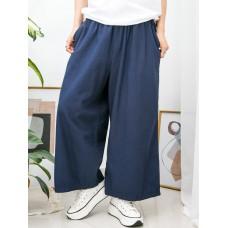 2015-1037 -超・舒・服-兩側袋 X 橡根腰 , 麻棉料闊褲 (韓國)-