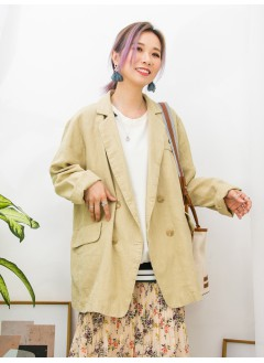 2013-1015A - 寫意・西裝 -前兩袋 X 孖襟款 , 麻棉料西裝褸 (韓國)0