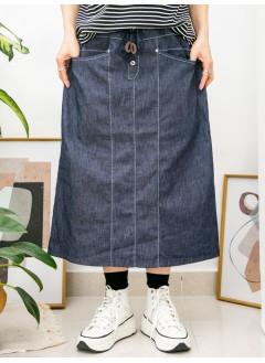 2015-1038- 日系・靚牛 - 前兩袋 X 橡根腰 , 後幅下擺開叉 X 牛仔料半截裙 (韓國)