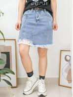 2015-1043 - 牛仔・蕾絲 -下擺SOSO邊 X 通花刺繡恤衫料 , 爛爛 X 牛仔料, 半截裙 (韓國)0