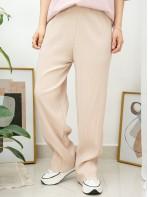 2015-1041A - 超・舒・服 -橡根腰 X 坑紋 , 雙面料闊褲 (韓國)