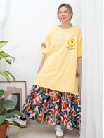 2011-1121A-Big・smile- 哈哈笑PRINT X 單邊袖口 , 後幅英文字PRINT , 下擺兩旁開叉 X COTTON料長TOP (韓國)0