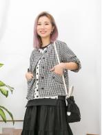 2013-1017 - 日系・格仔 -全開胸扣鈕 X 前兩袋 , 格仔PATTERN麻棉料外套 (韓國)