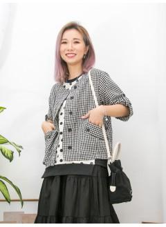 2013-1017 - 日系・格仔 -全開胸扣鈕 X 前兩袋 , 格仔PATTERN麻棉料外套 (韓國)0