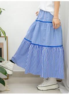 2015-1047-橫間控- 層層打摺 X 織帶邊 , 直間 拼 橫間恤衫料 X 橡根腰 , 半截裙 (韓國)-