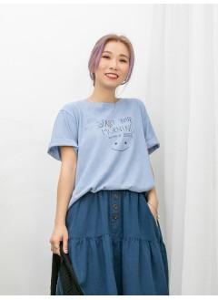 2011-1132 -Smile-下擺兩旁開叉 X 英文字PRINT , COTTON料TOP (韓國)