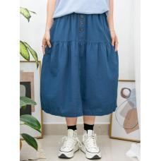 2015-1044-泡泡裙- 兩側袋 X 下擺打摺 , 橡根腰 X 麻棉料半截裙 (韓國)-