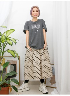 2011-1132A -smile-下擺兩旁開叉 X 英文字PRINT , COTTON料TOP (韓國)