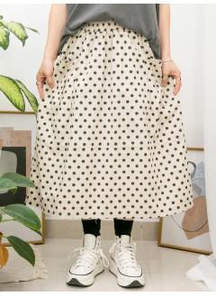2015-1045A- 日系・波點 - 前兩袋 X 橡根腰 , 點點PATTERN扯布料半截裙 (韓國)