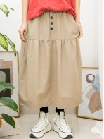 2015-1044A- 泡泡裙 - 兩側袋 X 下擺打摺 , 橡根腰 X 麻棉料半截裙 (韓國)-