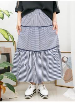 2015-1047A - 橫間控 -層層打摺 X 織帶邊 , 直間 拼 橫間恤衫料 X 橡根腰 , 半截裙 (韓國)