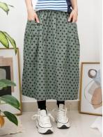 2015-1045-日系・波點- 前兩袋 X 橡根腰 , 點點PATTERN扯布料半截裙 (韓國)-