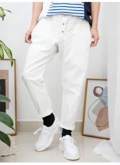 2015-1050-日系・男友褲- 兩側袋 X 橡根腰 , 扯布料X 少低浪褲 (韓國)