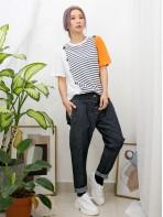 2011-1130 -活力・橫間-前幅兩行釘鈕 X 橫間 , 拼淨色COTTON料TOP (韓國)0