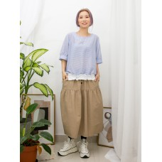 2011-1122A -日系・條子-下擺淨色恤衫料 X 束繩 , 橫間恤衫料TOP (韓國)