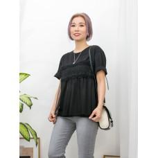 2011-1125 - BLACK -胸位百摺網布 X COTTON料 , 假兩件TOP (韓國)0