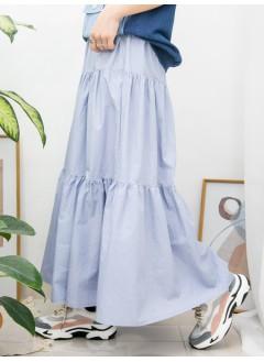 2015-1055 - 氣質・藍調 -層層打摺 X 橡根腰 , 恤衫料半截裙 (韓國)-
