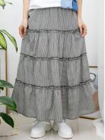 2015-1056 - 日系・格格 -層層打摺 X RUFFLE邊 , 橡根腰 X 細格仔PATTERN , 麻棉料半截裙 (韓國)0