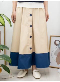 2015-1053-法式・氣質- 前幅釘鈕 X 後腰橡根 X 前腰打摺 , 兩側袋 X 下擺拼色 , 恤衫料半截裙 (韓國)