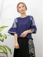 2011-1158A - Ruffles・民族 -膊位 , 袖口民族PATTERN恤衫料 X 淨色COTTON料TOP (韓國)0