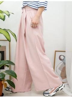 2015-1057-粉色系列- 兩側袋 X 橡根腰 , RUFFLE邊 , 扯布料闊褲 (連腰帶) (韓國)-