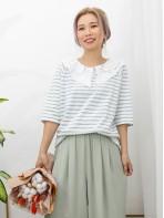 2011-1139A - 橫間・蕾絲 -反領位波浪邊通花刺繡 X 橫間 , 竹節料TOP (韓國)0