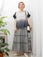 2011-1145-漸變・層次- 前幅下擺小開叉 X 漸變色滑滑料 X 淨色麻棉料TOP (韓國)