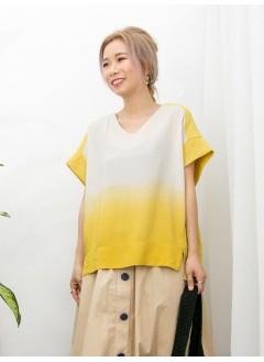 2011-1145A - 漸變・層次 -前幅下擺小開叉 X 漸變色滑滑料 X 淨色麻棉料TOP (韓國)0