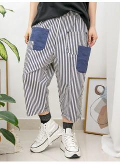 2015-1054 - 日系・條子 -前幅拼色袋位 X 橡根腰 , 直紋恤衫料闊褲 (韓國)-