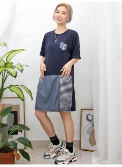 2016-1025A -日系・裙子-前兩袋 X 前幅下擺格仔麻棉料 X 薄牛仔料 , 淨色COTTON料OPS (韓國)