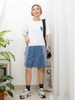 2016-1025 -日系・裙子-前兩袋 X 前幅下擺格仔麻棉料 X 薄牛仔料 , 淨色COTTON料OPS (韓國)0