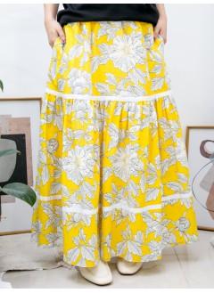 2015-1062A - 花裙控 -兩側袋 X 橡根腰 , 層層織帶 X 花花PATTERN恤衫料, 半截裙 (有厘布) (韓國)