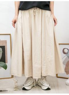2015-1052-日系・Aline- 兩側袋 X 橡根腰束繩 , 袋邊打摺 X 麻棉料半截裙 (韓國)