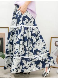 2015-1062-花裙控- 兩側袋 X 橡根腰 , 層層織帶 X 花花PATTERN恤衫料, 半截裙 (有厘布) (韓國)