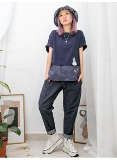 2011-1164-可愛- 兔仔刺繡 X 小袋仔 , 前幅下擺恤衫料 X COTTON料TOP (韓國)