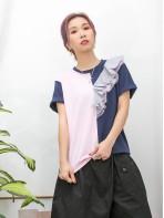 2011-1196 - Ruffles -單邊膊位DOUBLE LAYER網布 X 直紋恤衫料 X RUFFLE , 拼色COTTON料TOP (韓國)0