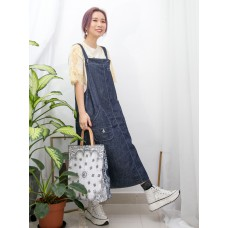 2016-1041- 日系・風格 - 後幅下擺開叉 X 前兩袋 , 牛仔料工人裙 (韓國)-