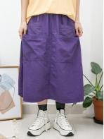 2015-1076A - 日系・Aline -前DOUBLE袋位 X 通通刺繡 , 橡根腰 X 麻棉料半截裙 (韓國)0
