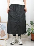 2015-1076 -日系・Aline-前DOUBLE袋位 X 通通刺繡 , 橡根腰 X 麻棉料半截裙 (韓國)0