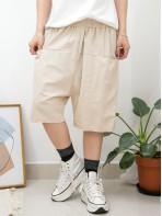 2015-1066B- 短版・男友褲 - 前兩袋 X 橡根腰 , 少低浪 X 麻棉料短褲 (韓國)