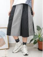 2015-1079A - 獨特・日系 -兩側袋 X 橡根腰 , 大, 細格仔麻棉料 X 恤衫料闊褲 (韓國)-