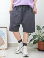 2015-1066 -短版・男友褲-前兩袋 X 橡根腰 , 少低浪 X 麻棉料短褲 (韓國)