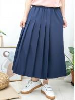 2015-1080- 百褶・氣質 - 單邊袋位 X 單邊百摺 , 橡根腰 X 滑滑料裙褲 (韓國)-