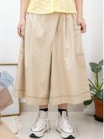 2015-1077A- Aline・裙褲 - 兩側袋 X 後腰橡根 , 拼色車線 X 暗格仔恤衫料 , 裙褲 (韓國)0