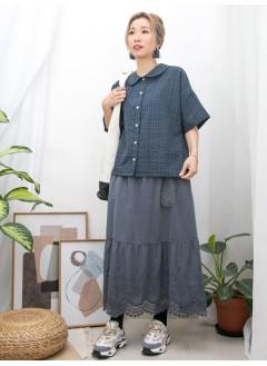 2011-1239 - 日系・BB -全開胸扣鈕 X 格仔PATTERN , 反領 X 恤衫料TOP (韓國)0